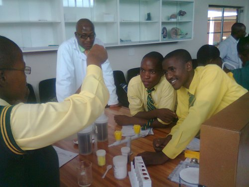 Phongola learners performing science experiments