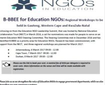 B-BBEE for Education NGOs: Invitation to Regional Workshops