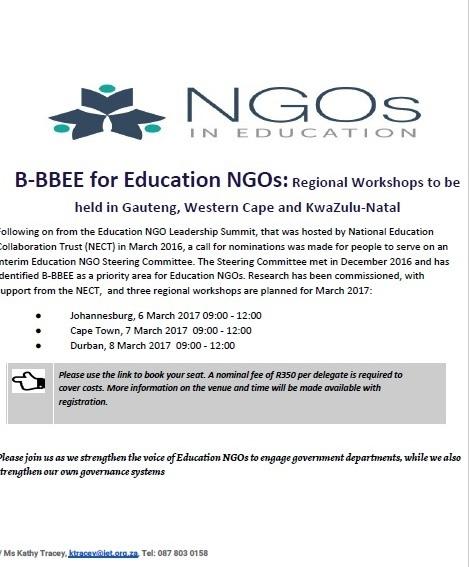 B-BBEE for Education NGOs: Invitation to Regional Workshops